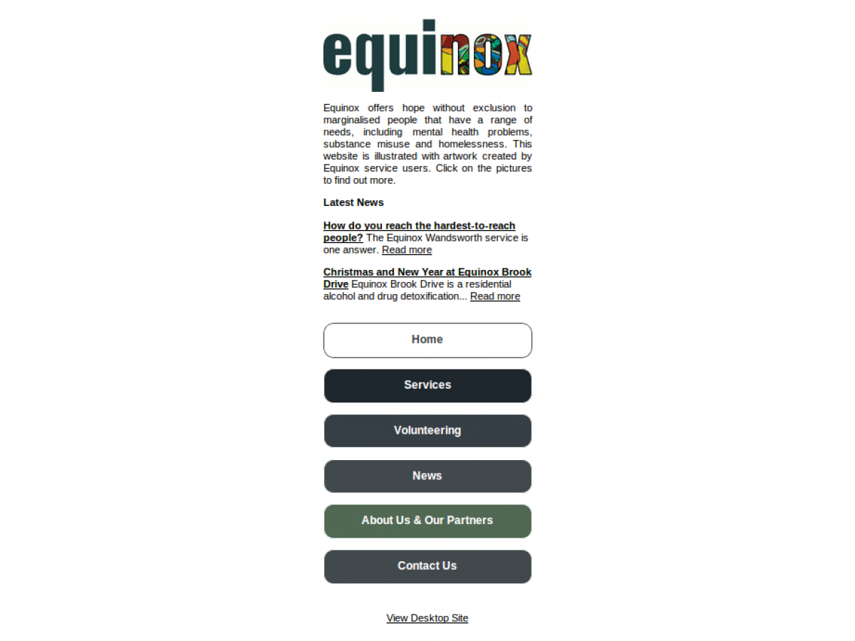 Equinox mobile website london