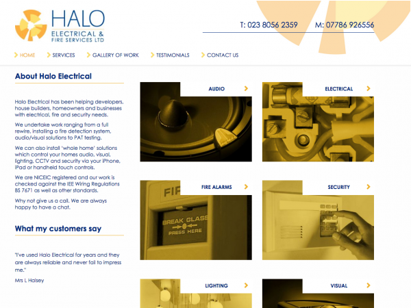 Halo Electrical home page