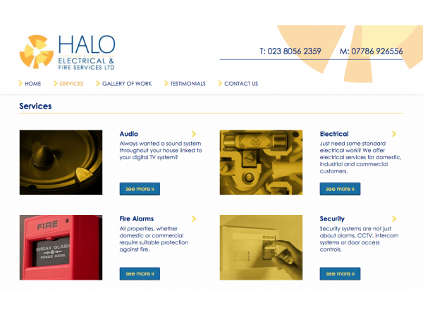 Halo Electrical Services page